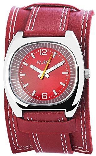 Damen Analog Armbanduhr mit Quarzwerk 100325000057 und Metallgehaeuse mit Kunstlederarmband in Rot und Dornschliesse Ziffernblattfarbe rot Bandgesamtlaenge 24 cm Armbandbreite 22 mm