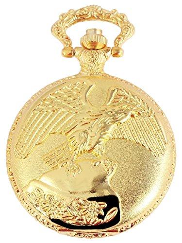 Analog Taschenuhr mit Quarzwerk mit Motiv Adler Vogel 480702000035 Goldfarbiges Gehaeuse im Masse 46mm x 15mm mit Ziffernblattfarbe weiss und Mineralglas