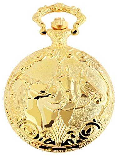 Analog Taschenuhr mit Quarzwerk mit Motiv Pferde 480702000020 Goldfarbiges Gehaeuse im Masse 47mm x 15mm mit Mineralglas