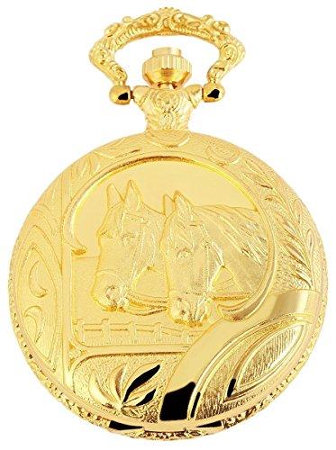 Analog Taschenuhr mit Quarzwerk mit Motiv Pferde 480702000021 Goldfarbiges Gehaeuse im Masse 46mm x 15mm mit Mineralglas