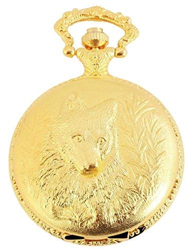 Analog Taschenuhr mit Quarzwerk mit Motiv Hund Wolf 480702000023 Goldfarbiges Gehaeuse im Masse 46mm x 16mm mit Mineralglas