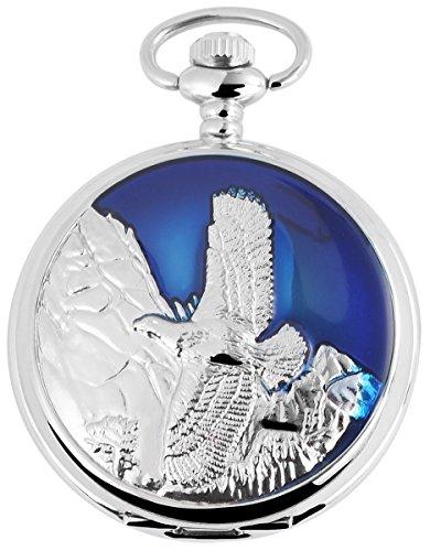 Analog Taschenuhr mit Quarzwerk mit Motiv Vogel 480722000024 Blau Silberfarbiges Gehaeuse im Masse 47mm x 16mm mit Mineralglas
