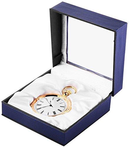 Analog Taschenuhr mit Quarzwerk 485702000004 Goldfarbiges Gehaeuse im Masse 52mm x 13mm mit Mineralglas