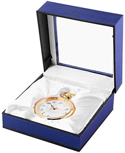 Analog Taschenuhr mit Quarzwerk 485702000005 Goldfarbiges Gehaeuse im Masse 47mm x 13mm mit Mineralglas