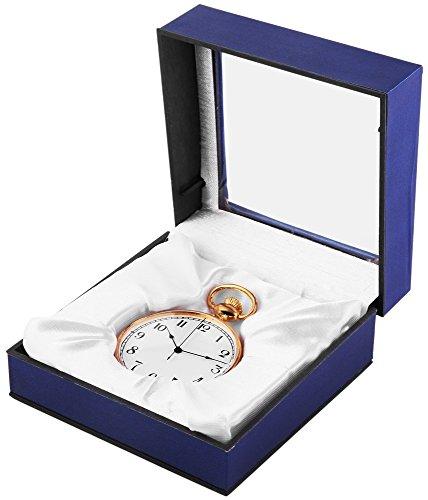 Analog Taschenuhr mit Quarzwerk 485702000006 Goldfarbiges Gehaeuse im Masse 46mm x 14mm mit Mineralglas