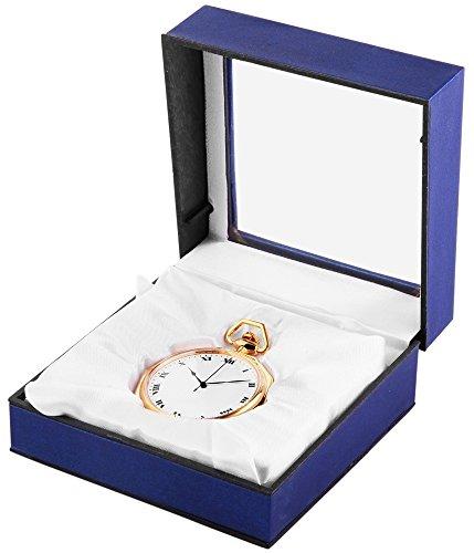Analog Taschenuhr mit Quarzwerk 485702000007 Goldfarbiges Gehaeuse im Masse 45mm x 11mm mit Mineralglas
