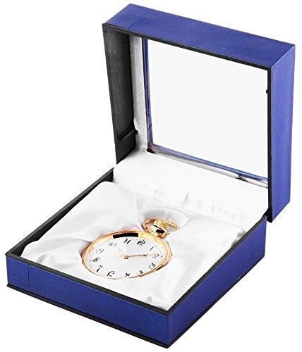 Analog Taschenuhr mit Quarzwerk 485702000008 Goldfarbiges Gehaeuse im Masse 47mm x 13mm mit Mineralglas