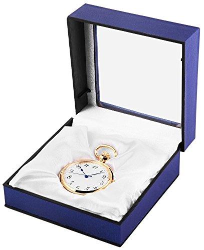 Analog Taschenuhr mit Quarzwerk 485702000010 Goldfarbiges Gehaeuse im Masse 41mm x 10mm mit Mineralglas