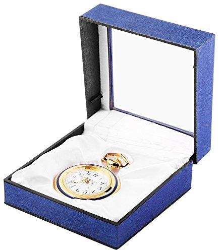 Analog Taschenuhr mit Quarzwerk 485702000012 Goldfarbiges Gehaeuse im Masse 47mm x 12mm mit Mineralglas