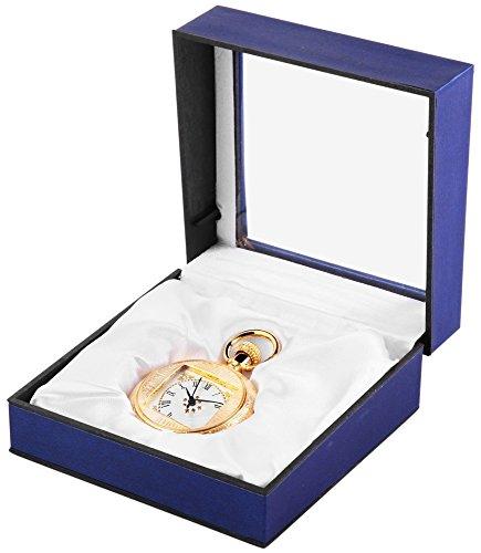 Analog Taschenuhr mit Quarzwerk 485702000013 Goldfarbiges Gehaeuse im Masse 42mm x 14mm mit Mineralglas