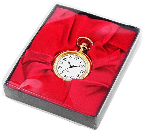 Analog Taschenuhr mit Quarzwerk 485702000015 Goldfarbiges Gehaeuse im Masse 42mm x 12mm mit Mineralglas