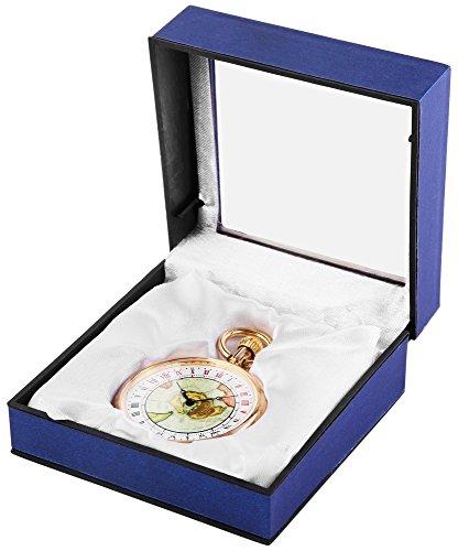 Analog Taschenuhr mit Quarzwerk mit Motiv Alte Karte 485708000017 Goldfarbiges Gehaeuse im Masse 50mm x 12mm mit Mineralglas