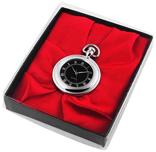 Analog Taschenuhr mit Quarzwerk mit Motiv 485721000034 Schwarz Silberfarbiges Gehaeuse im Masse 43mm x 10mm mit Mineralglas