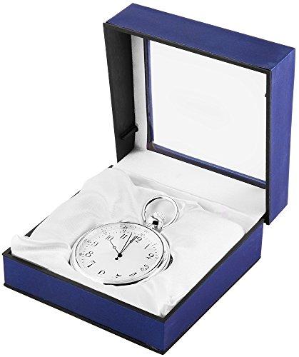 Analog Taschenuhr mit Quarzwerk 485722000018 Silberfarbiges Gehaeuse im Masse 52mm x 16mm mit Mineralglas