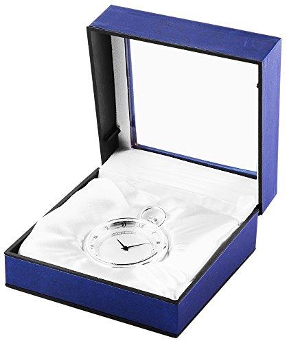 Analog Taschenuhr mit Quarzwerk 485722000019 Silberfarbiges Gehaeuse im Masse 44mm x 15mm mit Mineralglas