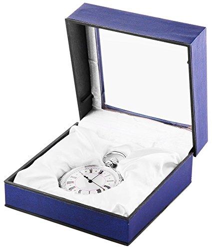 Analog Taschenuhr mit Quarzwerk 485722000020 Silberfarbiges Gehaeuse im Masse 47mm x 12mm mit Mineralglas