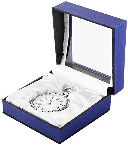 Analog Taschenuhr mit Quarzwerk 485722000021 Silberfarbiges Gehaeuse im Masse 50mm x 13mm mit Mineralglas