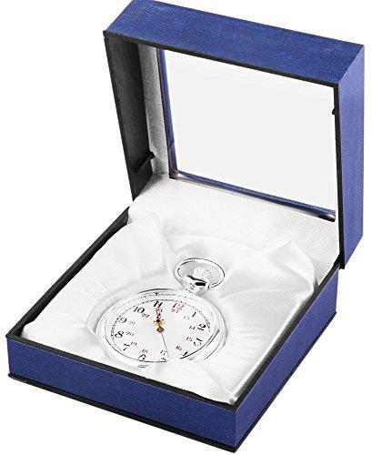 Analog Taschenuhr mit Quarzwerk 485722000030 Silberfarbiges Gehaeuse im Masse 50mm x 14mm mit Mineralglas