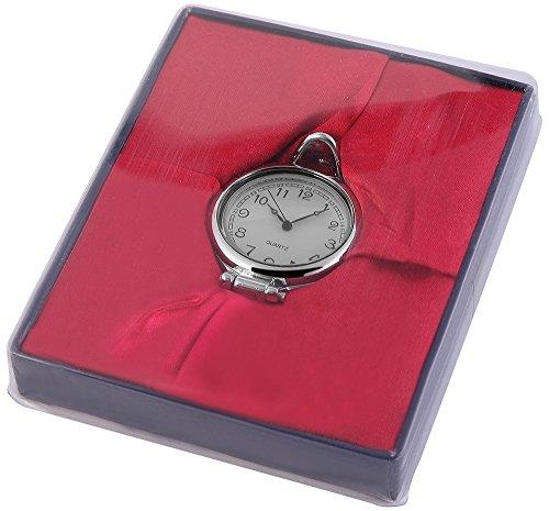 Analog Taschenuhr mit Quarzwerk 485722000032 Silberfarbiges Gehaeuse im Masse 41mm x 14mm mit Mineralglas