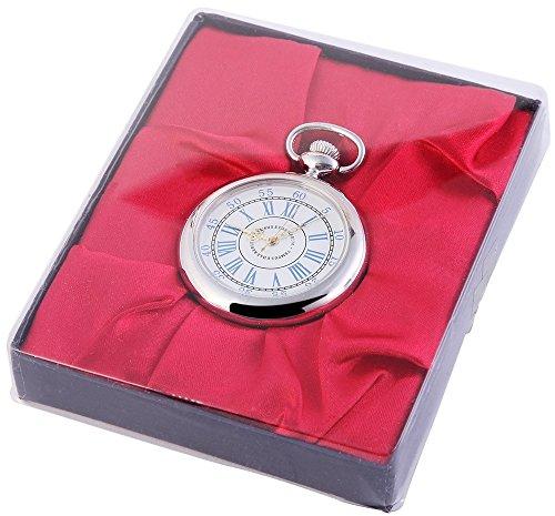 Analog Taschenuhr mit Quarzwerk 485722000033 Silberfarbiges Gehaeuse im Masse 46mm x 12mm mit Mineralglas