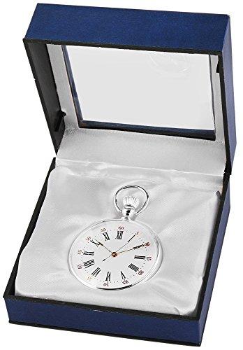 Analog Taschenuhr mit Quarzwerk 485722000036 Silberfarbiges Gehaeuse im Masse 47mm x 13mm mit Mineralglas