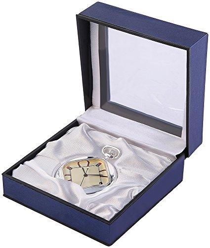 Analog Taschenuhr mit Quarzwerk 485727500025 Silberfarbiges Gehaeuse im Masse 45mm x 11mm mit Mineralglas
