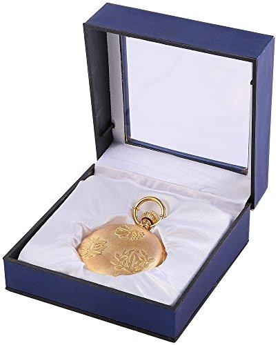 Analog Taschenuhr mit Quarzwerk 485802000002 Goldfarbiges Gehaeuse im Masse 46mm x 15mm mit Mineralglas