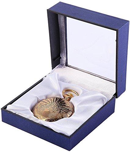 Analog Taschenuhr mit Quarzwerk 485802000007 Goldfarbiges Gehaeuse im Masse 50mm x 16mm mit Mineralglas