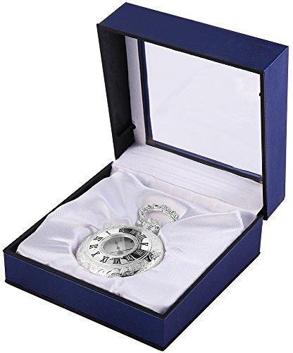 Analog Taschenuhr mit Quarzwerk 485822000004 Silberfarbiges Gehaeuse im Masse 46mm x 16mm mit Mineralglas