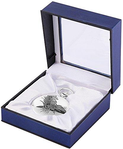 Analog Taschenuhr mit Quarzwerk 485822000005 Silberfarbiges Gehaeuse im Masse 47mm x 14mm mit Mineralglas
