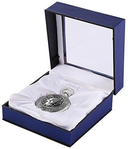Analog Taschenuhr mit Quarzwerk mit Motiv 485822000010 Schwarz Silberfarbiges Gehaeuse im Masse 42mm x 15mm mit Mineralglas
