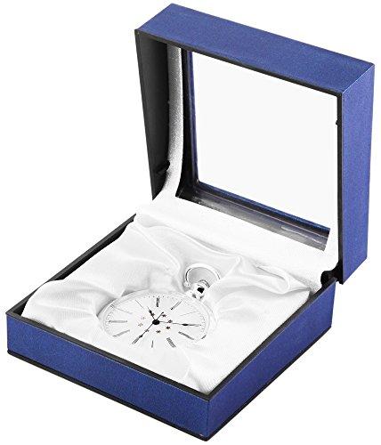 Taschenuhr Silberfarbig Sterne Metallgehaeuse 49x17mm Rund 485722000022