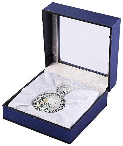Analog Taschenuhr mit Quarzwerk mit Motiv Blume Verzierung 485822000008 Silberfarbiges Gehaeuse im Masse 48mm x 15mm mit Mineralglas