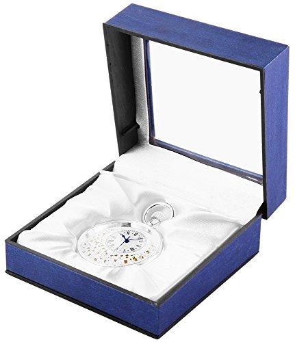 Analog Taschenuhr mit Quarzwerk mit Motiv Ranken Verzierungen 485722000023 Silberfarbiges Gehaeuse im Masse 48mm x 14mm mit Mineralglas