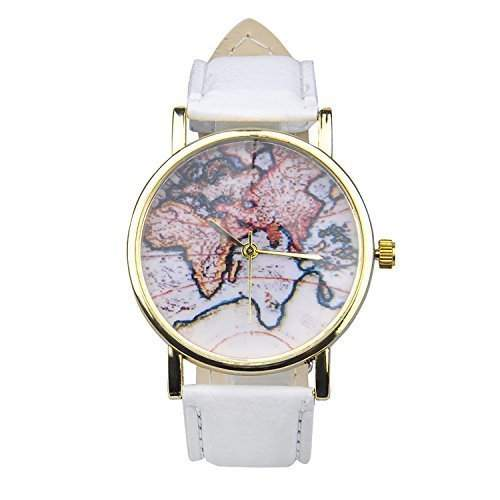 Unisex Herrn Damen Fashion Analog Display Digital Quartz Faux Leder Straps World Map Pattern Wrist Uhren Armbanduhren Watch Weiss
