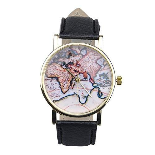 Unisex Herrn Damen Fashion Analog Display Digital Quartz Faux Leder Straps World Map Pattern Wrist Uhren Armbanduhren Watch Schwarz