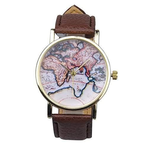 Unisex Herrn Damen Fashion Analog Display Digital Quartz Faux Leder Straps World Map Pattern Wrist Uhren Armbanduhren Watch Braun