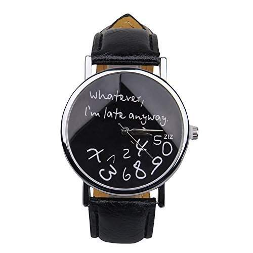 Popbop Damen Unisex Faux Leder Whatever, Im late anyway Analog Digital Quartz Uhren Armbanduhren Wrist Watch Schwarz 1