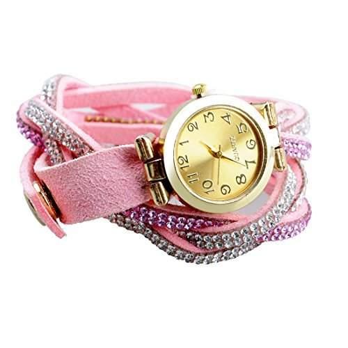 Popbop Damen Vintage Kristall Diamant Faux Leder Analog Quarz Armbanduhren Uhren Rosa