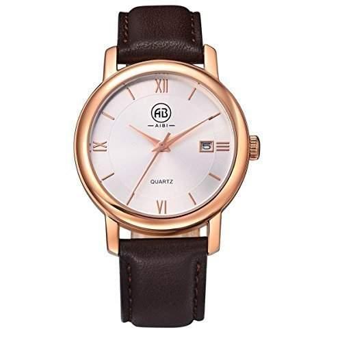 AIBI Wasserdichte Damen Braun Lederband weisses Zifferblatt Roségold Quarz Uhren mit Datum