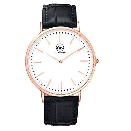 AIBI Herren-Armbanduhr XL Analog Quarz Leder Rose Gold  Schwarz AB02401-1