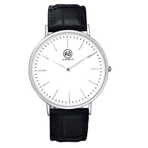 AIBI Herren-Armbanduhr XL Analog Quarz Leder Weiss Schwarz AB02401-4