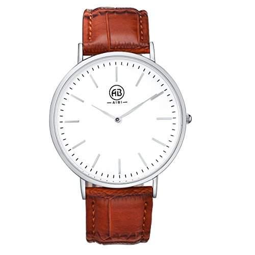 AIBI Herren-Armbanduhr Classic Casual Analog Quarz Uhr Leder Band Uhren AB02401-6