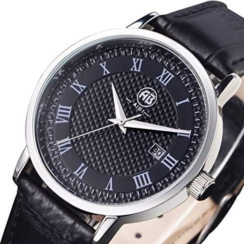 AIBI Herren Schwarz Leder Armband Edelstahl Datum Uhr AB43801-1