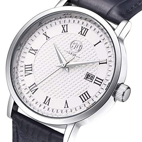 AIBI Herren Schwarz Leder Armband Edelstahl Datum Uhr AB43801-6