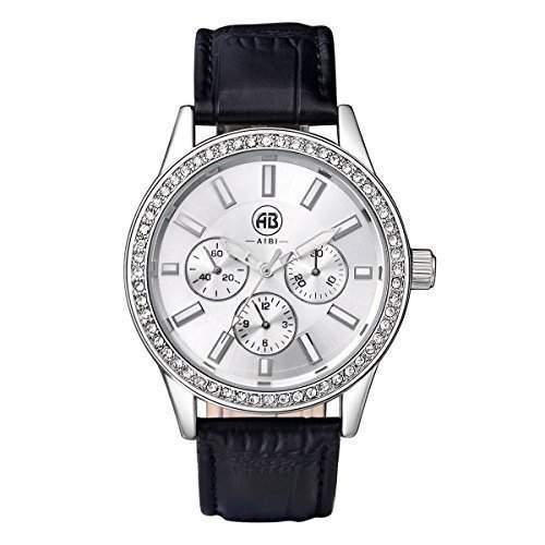 AIBI Wasserdichte Herren Schwarzes Lederband Silber Zifferblatt Quarz Uhren mit Kristall