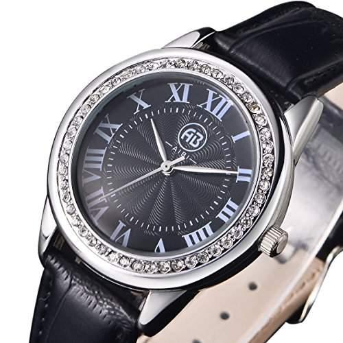 AIBI Wasserdichte Damen Uhren Schwarzes Lederband und Zifferblatt Roemische Ziffern Kristall