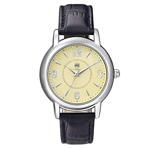 AIBI Wasserdichte Damen Schwarzes Lederband Gelb Zifferblatt Quarz Uhren mit