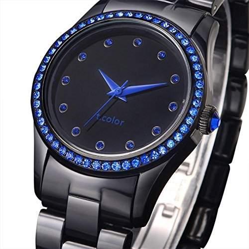 AIBI Wasserdichte Damen Uhren Schwarzes Kunststoff und Zifferblatt Luenette mit Blau Kristall-Akzenten