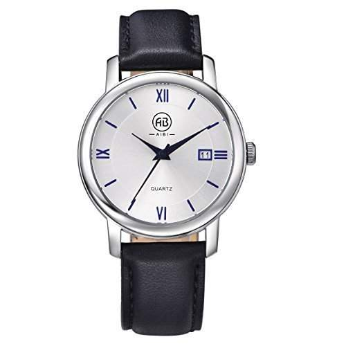 AIBI Wasserdichte Damen Schwarzes Lederband Silber Zifferblatt Quarz Uhren mit Datum